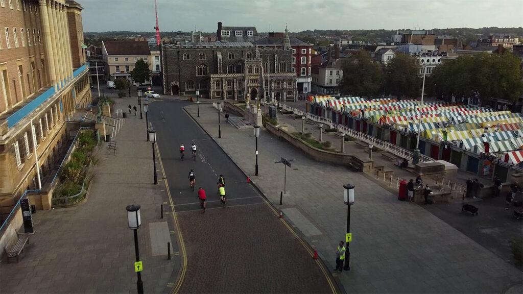 Drone over Norwich Market